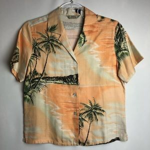 Tommy Bahama Silk Button down palm tree top
